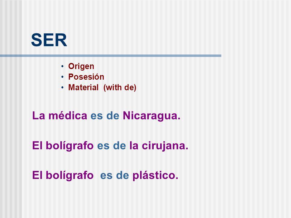 SER Origen Posesión Material (with de) La médica es de Nicaragua.