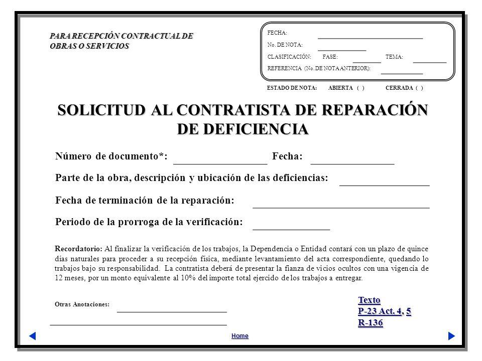 Otras Anotaciones: PARA RECEPCIÓN CONTRACTUAL DE OBRAS O SERVICIOS Home FECHA: No.