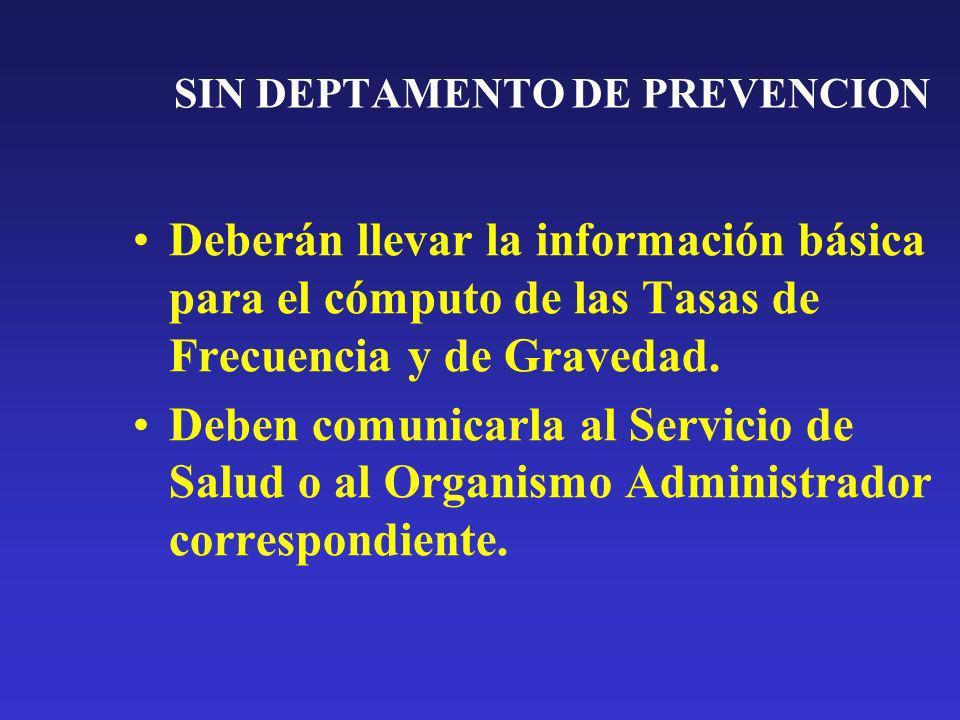 SIN DEPTAMENTO DE PREVENCION Deberán llevar la información básica para el cómputo de las Tasas de Frecuencia y de Gravedad. Deben comunicarla al Servi