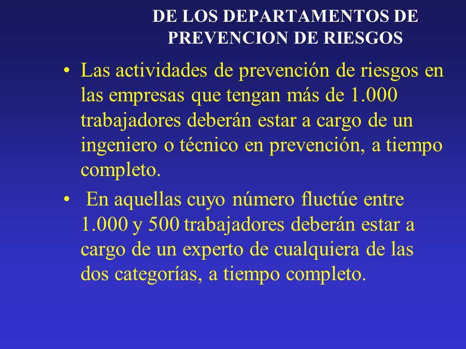 DE LOS DEPARTAMENTOS DE PREVENCION DE RIESGOS En empresas con - 500 trabajadores el Dpto.