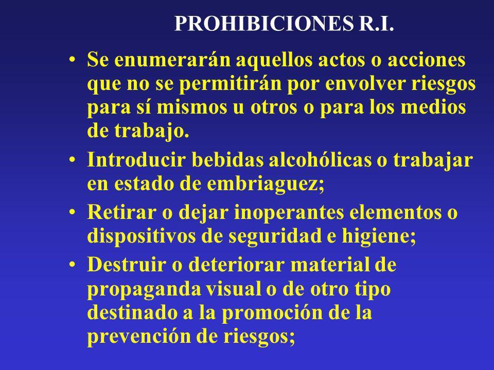 PROHIBICIONES R.I. Se enumerarán aquellos actos o acciones que no se permitirán por envolver riesgos para sí mismos u otros o para los medios de traba