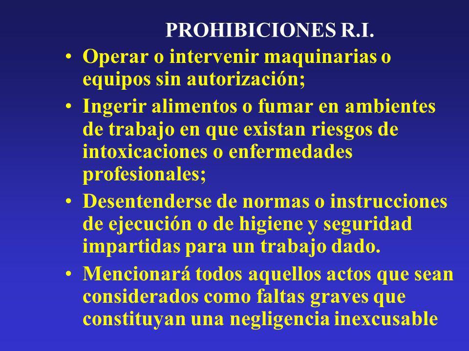 PROHIBICIONES R.I. Operar o intervenir maquinarias o equipos sin autorización; Ingerir alimentos o fumar en ambientes de trabajo en que existan riesgo
