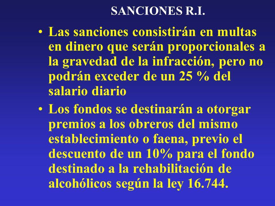 SANCIONES R.I. Las sanciones consistirán en multas en dinero que serán proporcionales a la gravedad de la infracción, pero no podrán exceder de un 25