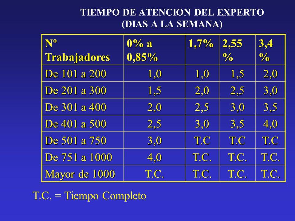 TIEMPO DE ATENCION DEL EXPERTO (DIAS A LA SEMANA) Nº Trabajadores 0% a 0,85% 1,7% 2,55 % 3,4 % De 101 a 200 1,01,01,52,0 De 201 a 300 1,52,02,53,0 De