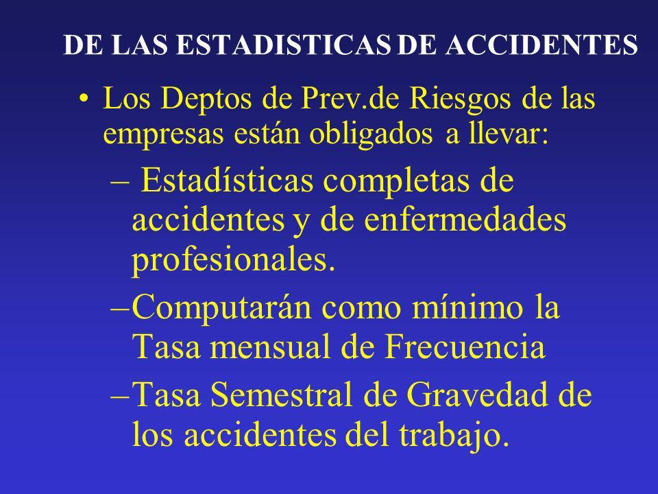 DE LAS ESTADISTICAS DE ACCIDENTES Los Deptos de Prev.de Riesgos de las empresas están obligados a llevar: – Estadísticas completas de accidentes y de