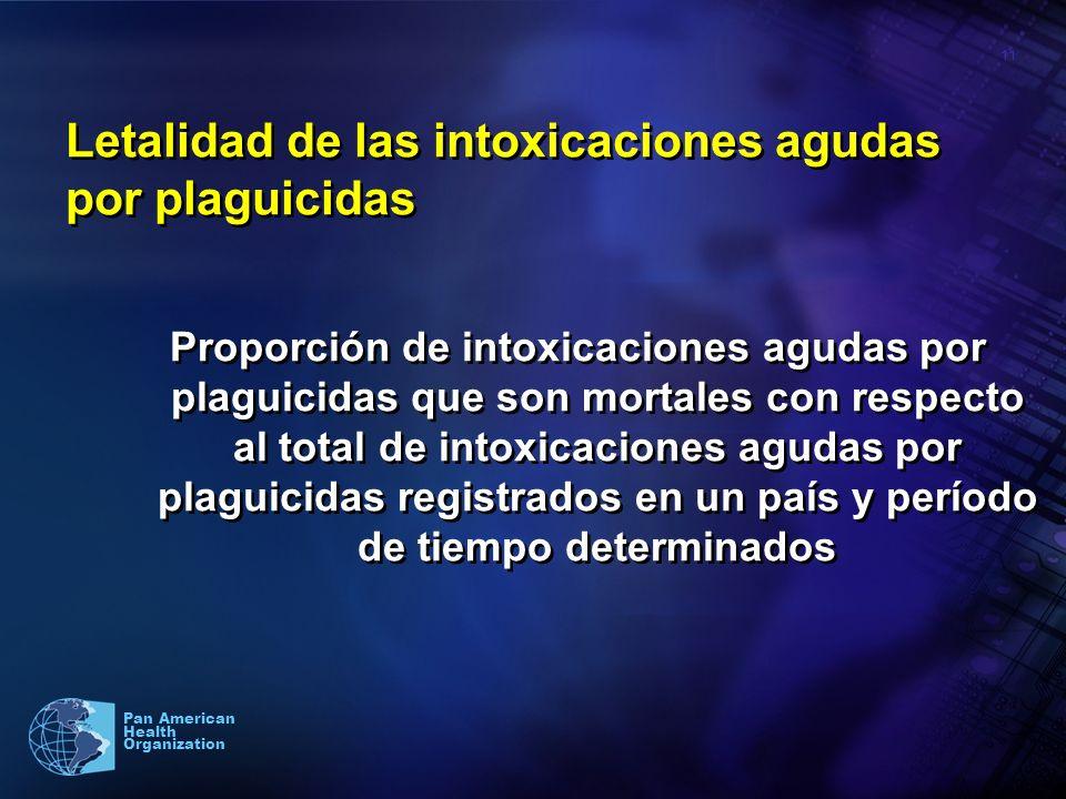 11 Pan American Health Organization Letalidad de las intoxicaciones agudas por plaguicidas Proporción de intoxicaciones agudas por plaguicidas que son