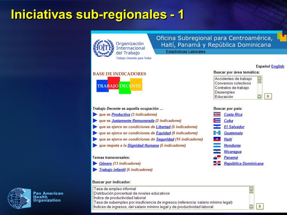 17 Pan American Health Organization Iniciativas sub-regionales - 1