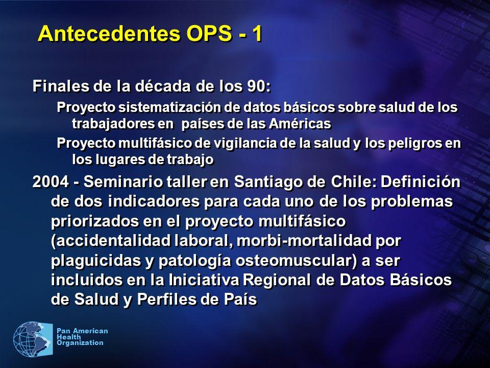 2 Pan American Health Organization Antecedentes OPS - 1 Finales de la década de los 90: Proyecto sistematización de datos básicos sobre salud de los t