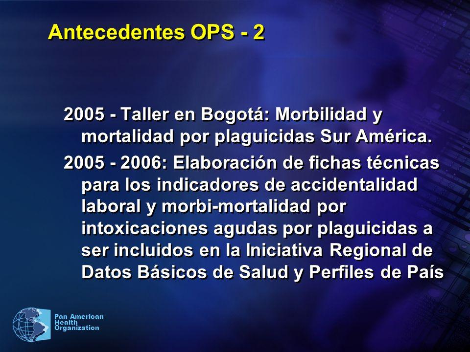 3 Pan American Health Organization Antecedentes OPS - 2 2005 - Taller en Bogotá: Morbilidad y mortalidad por plaguicidas Sur América. 2005 - 2006: Ela
