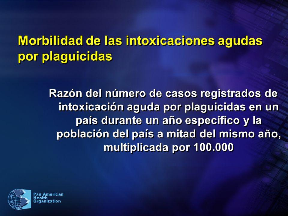 9 Pan American Health Organization Morbilidad de las intoxicaciones agudas por plaguicidas Razón del número de casos registrados de intoxicación aguda