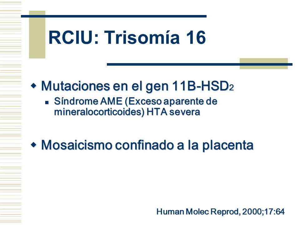 RCIU: Trisomía 16 Mutaciones en el gen 11B-HSD 2 Mutaciones en el gen 11B-HSD 2 Síndrome AME (Exceso aparente de mineralocorticoides) HTA severa Síndr