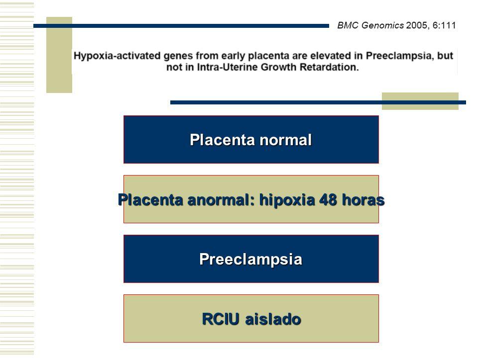 Placenta normal Placenta anormal: hipoxia 48 horas Preeclampsia RCIU aislado