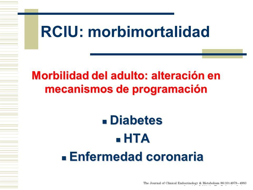 RCIU: morbimortalidad Morbilidad del adulto: alteración en mecanismos de programación Diabetes Diabetes HTA HTA Enfermedad coronaria Enfermedad corona