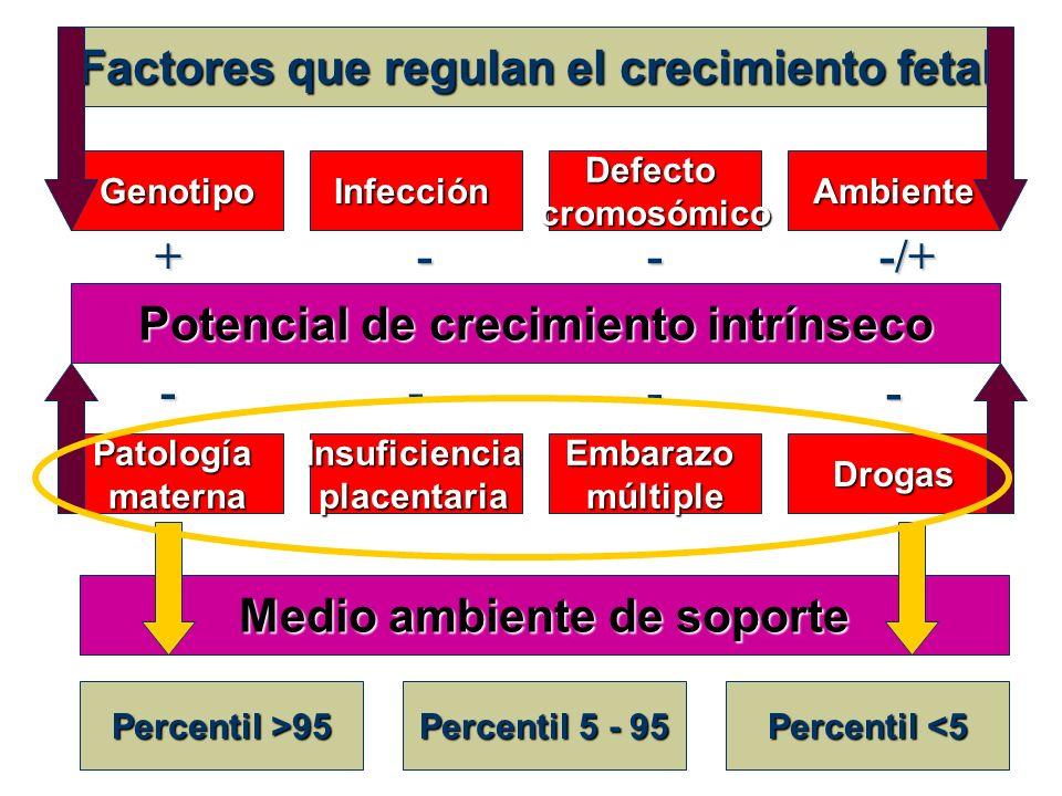 Factores que regulan el crecimiento fetal Potencial de crecimiento intrínseco GenotipoInfecciónDefectocromosómicoAmbiente +---/+ PatologíamaternaInsuf