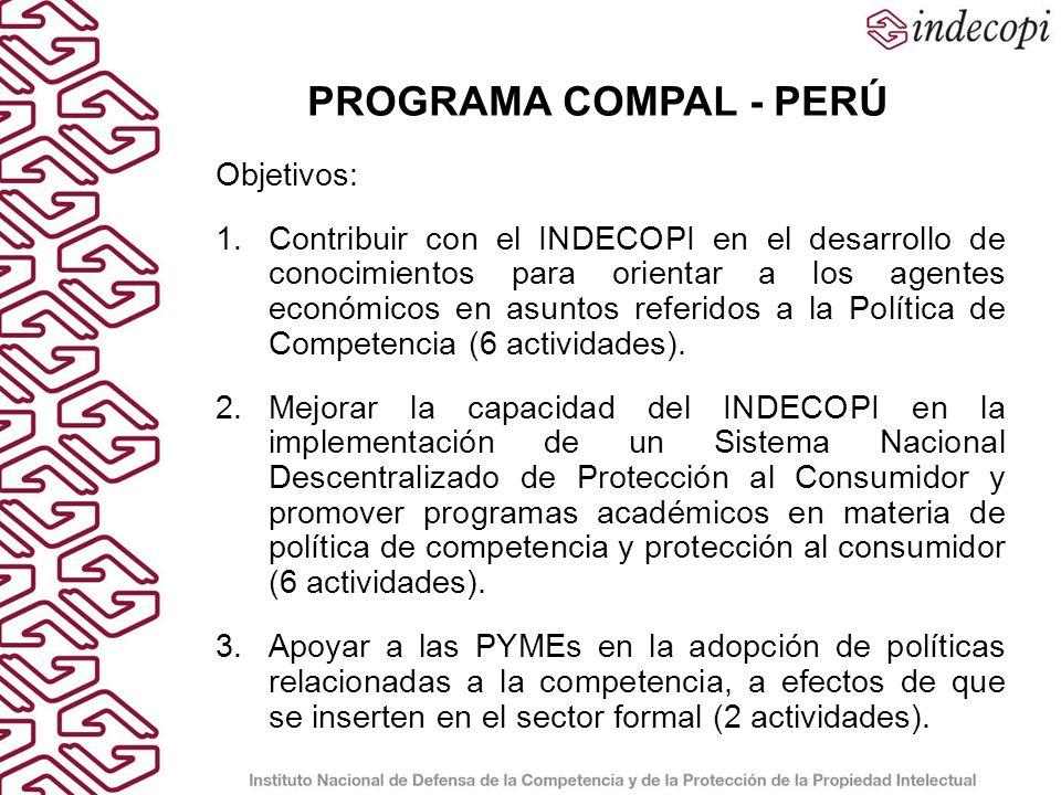 Objetivo 1: Contribuir con el INDECOPI en el desarrollo de conocimientos para orientar a los agentes económicos en asuntos referidos a la Política de Competencia.
