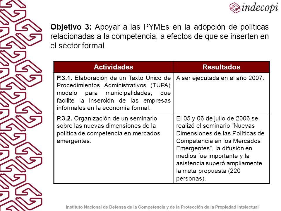 LOGROS Tres estudios sectoriales que sirven de apoyo en las labores de fiscalización del INDECOPI (P.1.1).