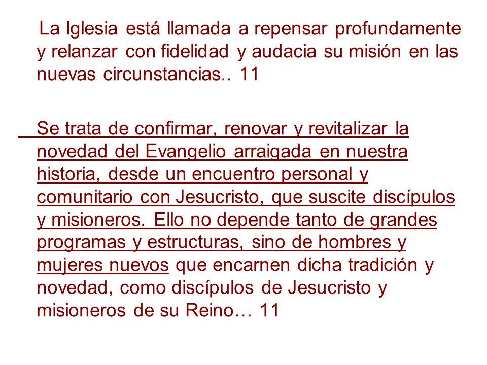La Iglesia está llamada a repensar profundamente y relanzar con fidelidad y audacia su misión en las nuevas circunstancias.. 11 Se trata de confirmar,