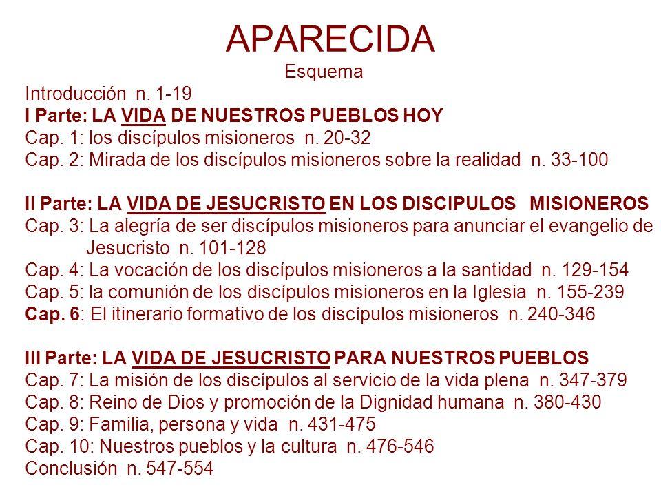 APARECIDA Esquema Introducción n. 1-19 I Parte: LA VIDA DE NUESTROS PUEBLOS HOY Cap. 1: los discípulos misioneros n. 20-32 Cap. 2: Mirada de los discí