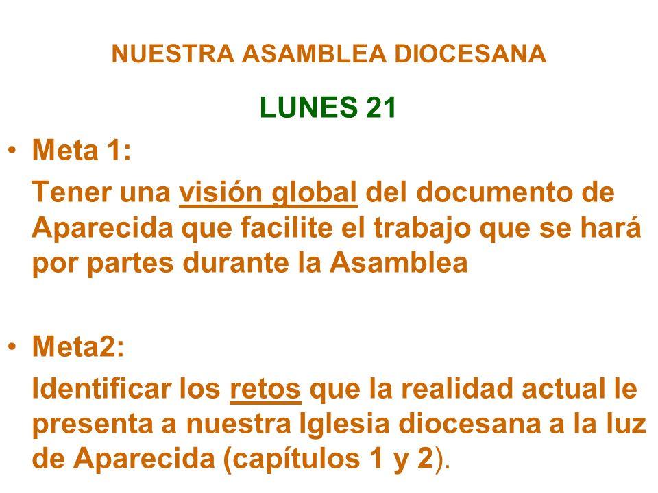 NUESTRA ASAMBLEA DIOCESANA LUNES 21 Meta 1: Tener una visión global del documento de Aparecida que facilite el trabajo que se hará por partes durante