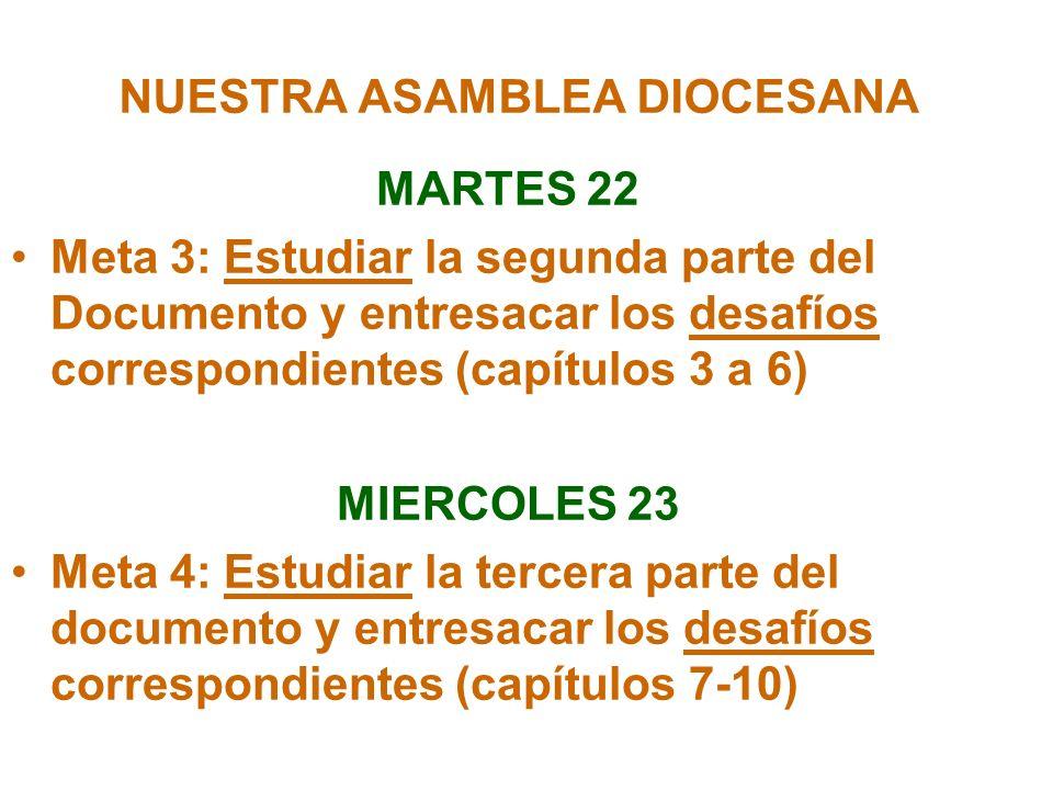 NUESTRA ASAMBLEA DIOCESANA MARTES 22 Meta 3: Estudiar la segunda parte del Documento y entresacar los desafíos correspondientes (capítulos 3 a 6) MIER