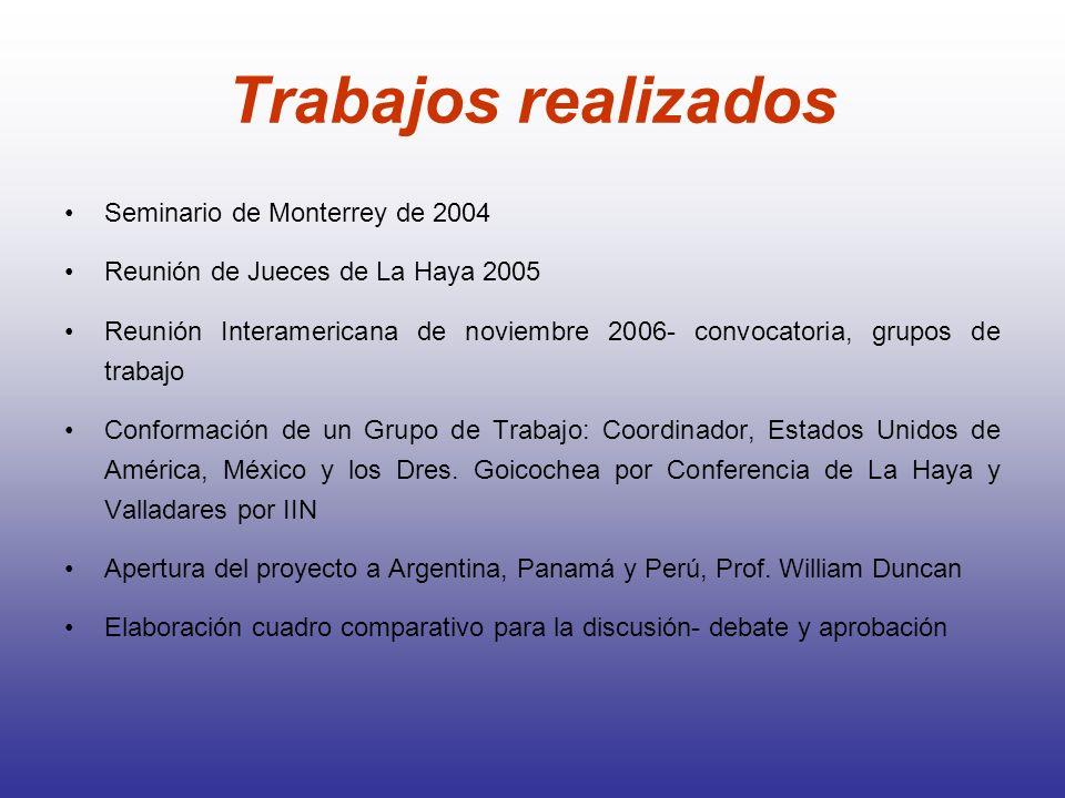 Trabajos realizados Seminario de Monterrey de 2004 Reunión de Jueces de La Haya 2005 Reunión Interamericana de noviembre 2006- convocatoria, grupos de