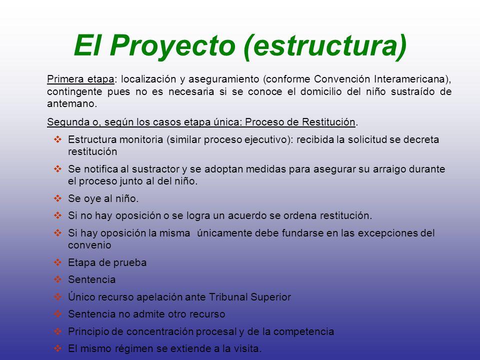 El Proyecto (estructura) Primera etapa: localización y aseguramiento (conforme Convención Interamericana), contingente pues no es necesaria si se cono