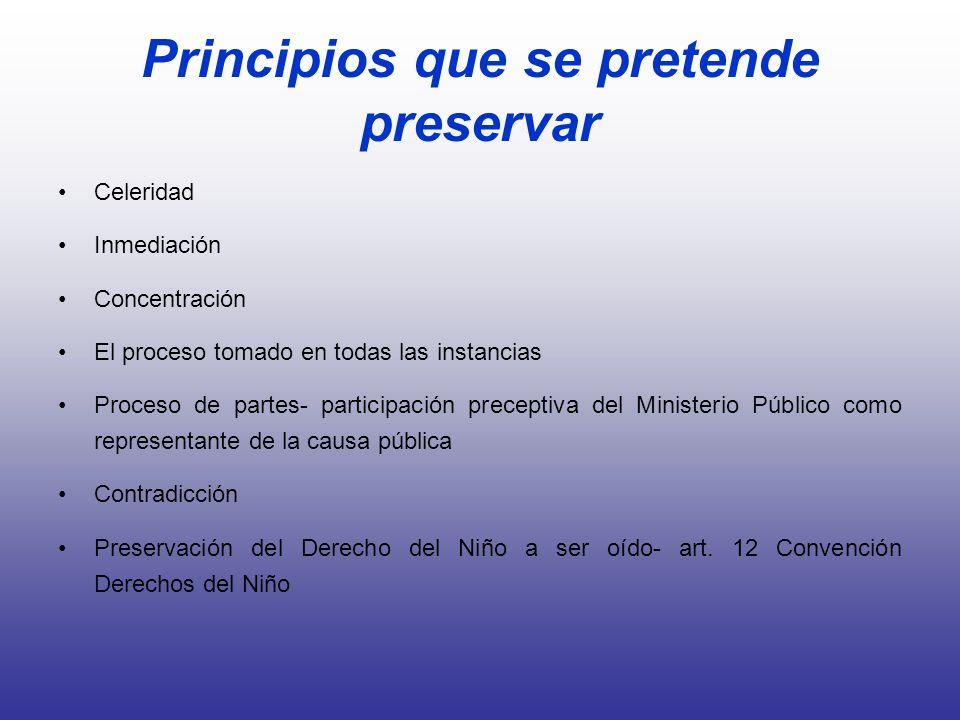 Principios que se pretende preservar Celeridad Inmediación Concentración El proceso tomado en todas las instancias Proceso de partes- participación pr
