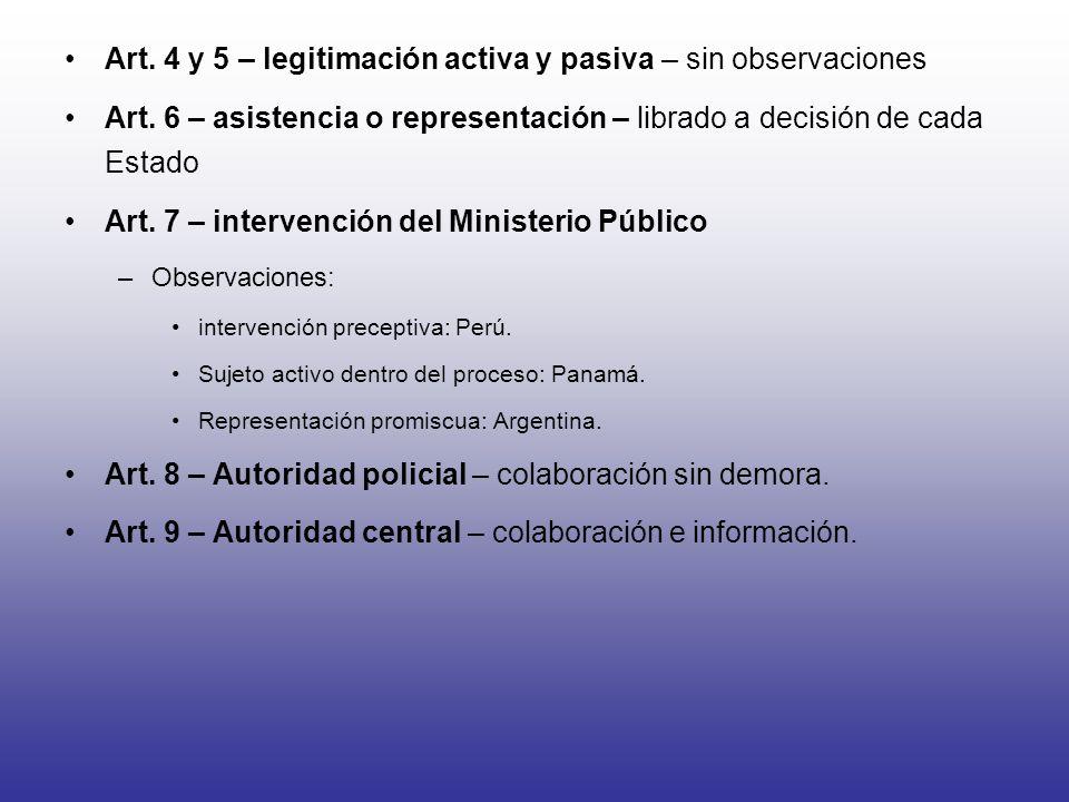 Art. 4 y 5 – legitimación activa y pasiva – sin observaciones Art. 6 – asistencia o representación – librado a decisión de cada Estado Art. 7 – interv
