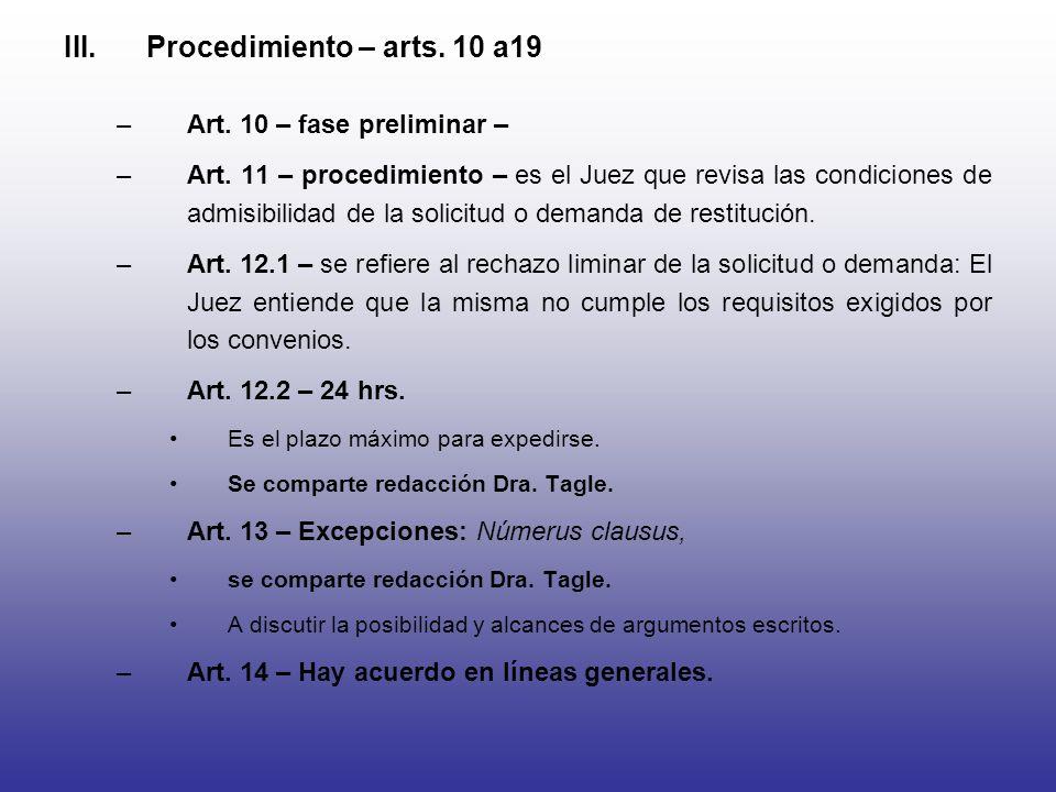 III.Procedimiento – arts. 10 a19 –Art. 10 – fase preliminar – –Art. 11 – procedimiento – es el Juez que revisa las condiciones de admisibilidad de la