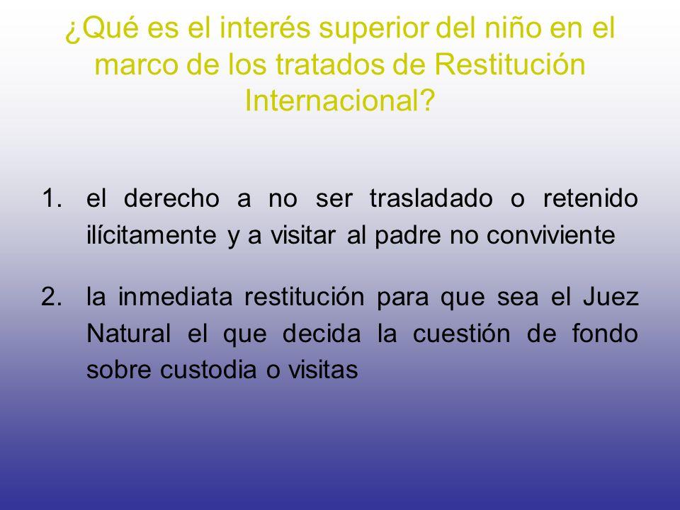 ¿Qué es el interés superior del niño en el marco de los tratados de Restitución Internacional? 1.el derecho a no ser trasladado o retenido ilícitament