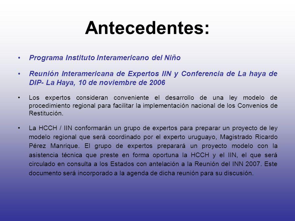 Antecedentes: Programa Instituto Interamericano del Niño Reunión Interamericana de Expertos IIN y Conferencia de La haya de DIP- La Haya, 10 de noviem