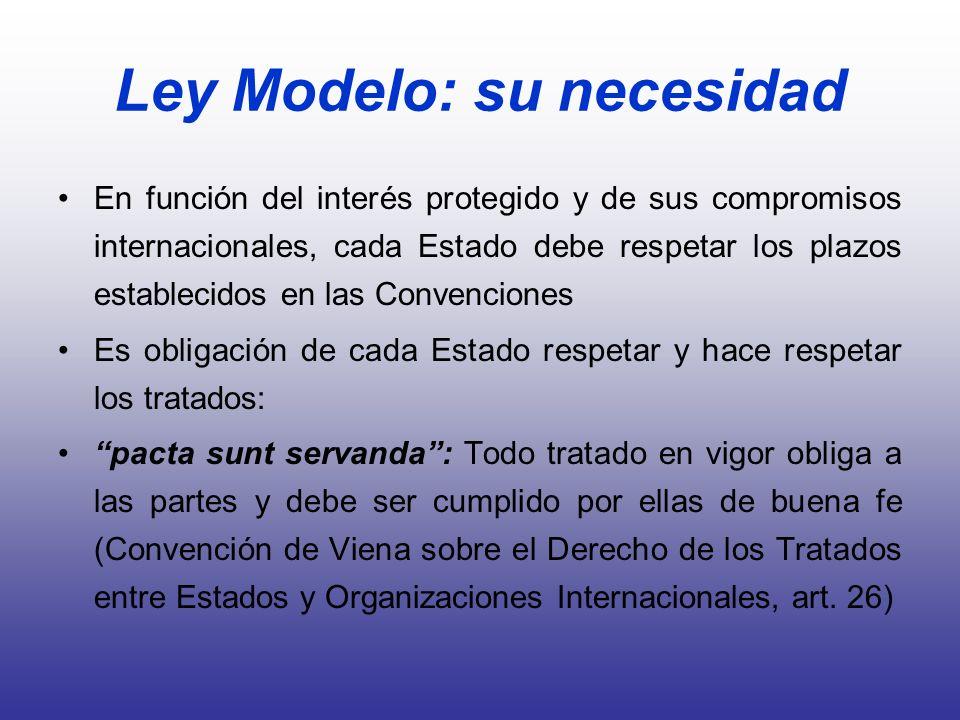 Ley Modelo: su necesidad En función del interés protegido y de sus compromisos internacionales, cada Estado debe respetar los plazos establecidos en l