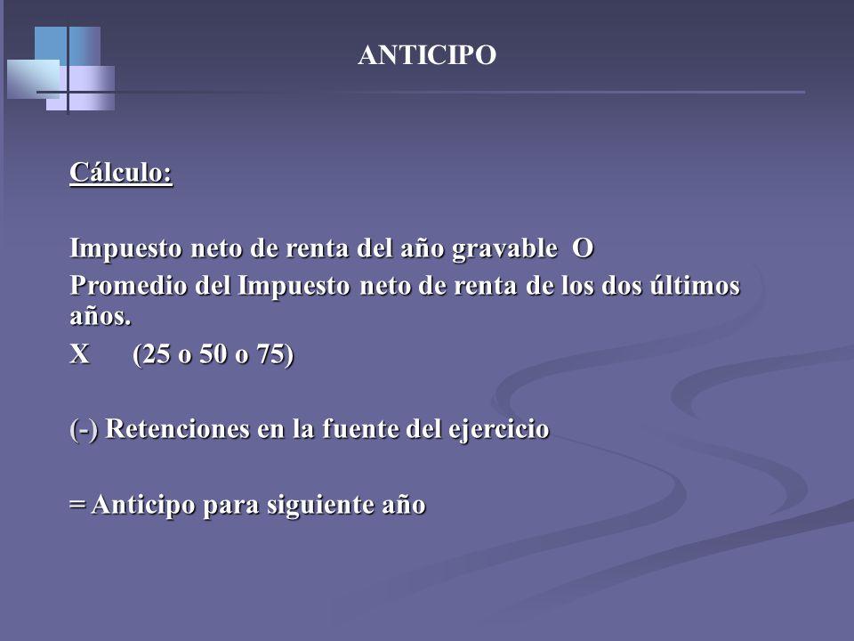 ANTICIPO – Art. 807 Et- Regla General: 25% Regla General: 25% Declarantes por primera vez: 50% Declarantes por primera vez: 50% Declarantes por segund