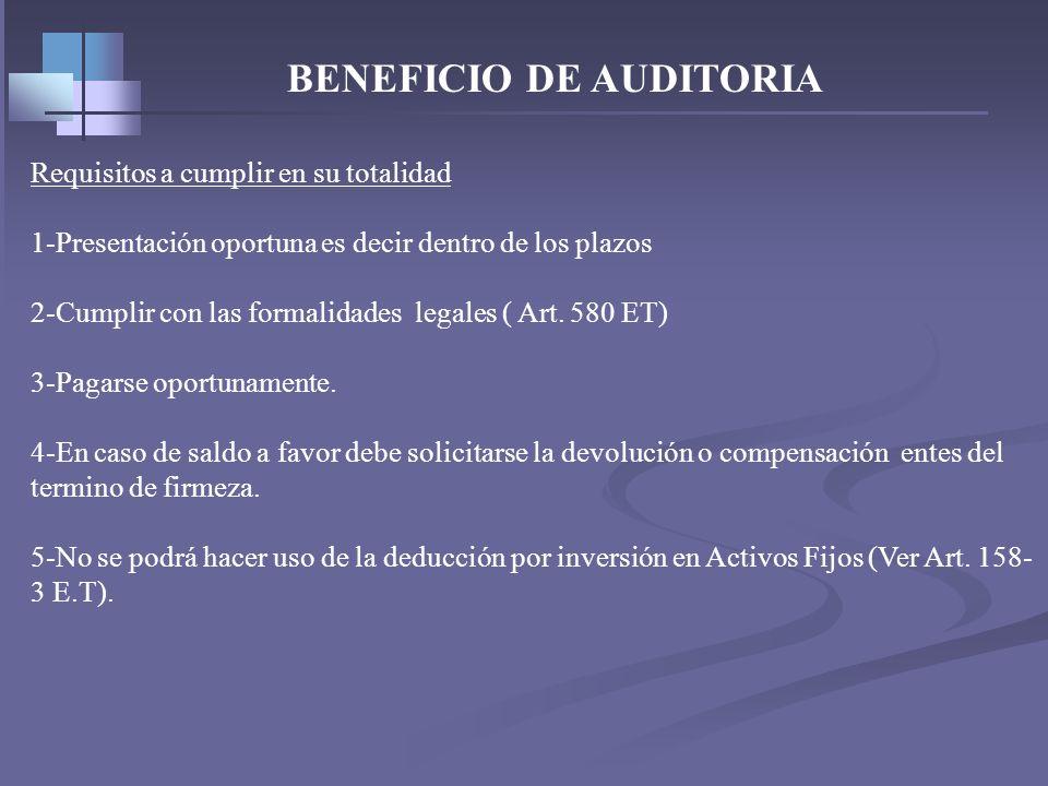 BENEFICIO DE AUDITORIA – Art. 689-1 No de meses de firmeza - % Incremento Impto Neto -18 Meses (*) - 2.5 Veces la Inflación -12 Meses (*) - 3.0 Veces
