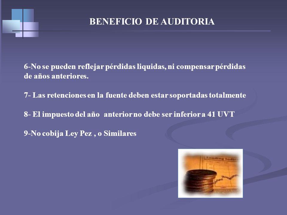 BENEFICIO DE AUDITORIA Requisitos a cumplir en su totalidad 1-Presentación oportuna es decir dentro de los plazos 2-Cumplir con las formalidades legal