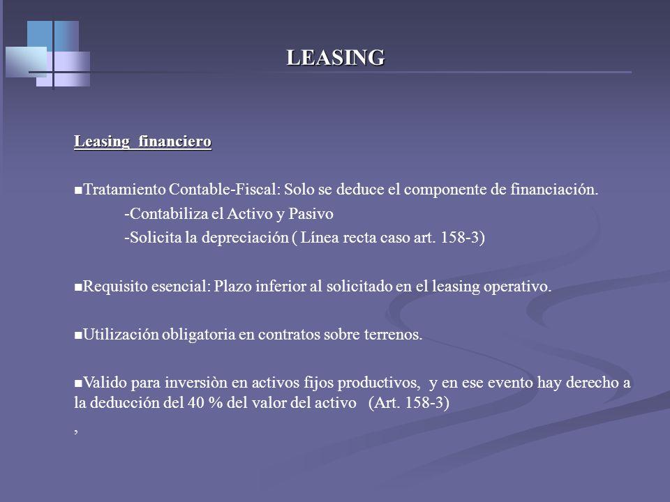 LEASING Leasing Operativo Tratamiento Contable – Fiscal : Totalidad del canon de arrendamiento es deducible ( gasto arriendo) Requisito esencial:Puede