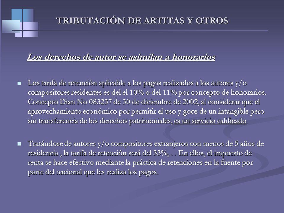 TRIBUTACIÓN DE ARTITAS Y OTROS Tratamiento de los derechos de autor. Tratamiento de los derechos de autor. Art. 24 ET. consideran ingresos de fuente n