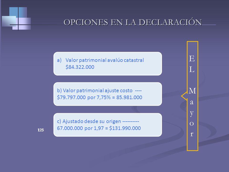 124 EJERCICIO PRÁCTICO Una persona natural, compró su apartamento en el año 2002 por valor de $67.000.000; en el año 2009 piensa vender ese bien. ¿Sug