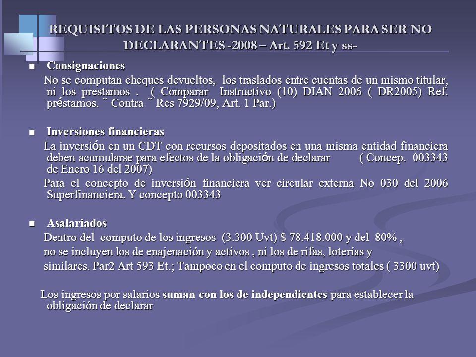 12 REQUISITOS DE LAS PERSONAS NATURALES PARA SER NO DECLARANTES -2008 – Art. 592 Et y ss- Personas naturales de menores Ingresos Asalariados mínimo 80