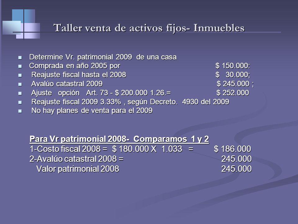 Acciones, vehículos y otros muebles R.32 -Valor Patrimonial R.32 -Valor Patrimonial Es el costo fiscal (formado) año 2009 Es el costo fiscal (formado)