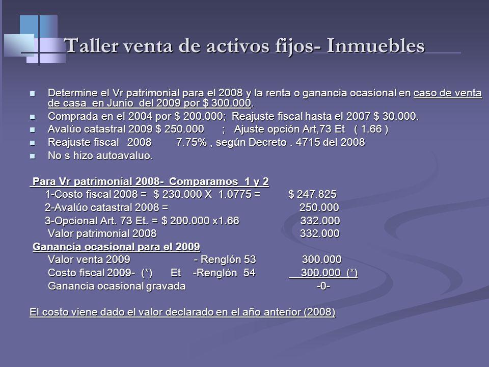 Taller venta de activos fijos- Inmuebles Determine Vr. patrimonial 2009 de una casa Determine Vr. patrimonial 2009 de una casa Comprada en año 2005 po