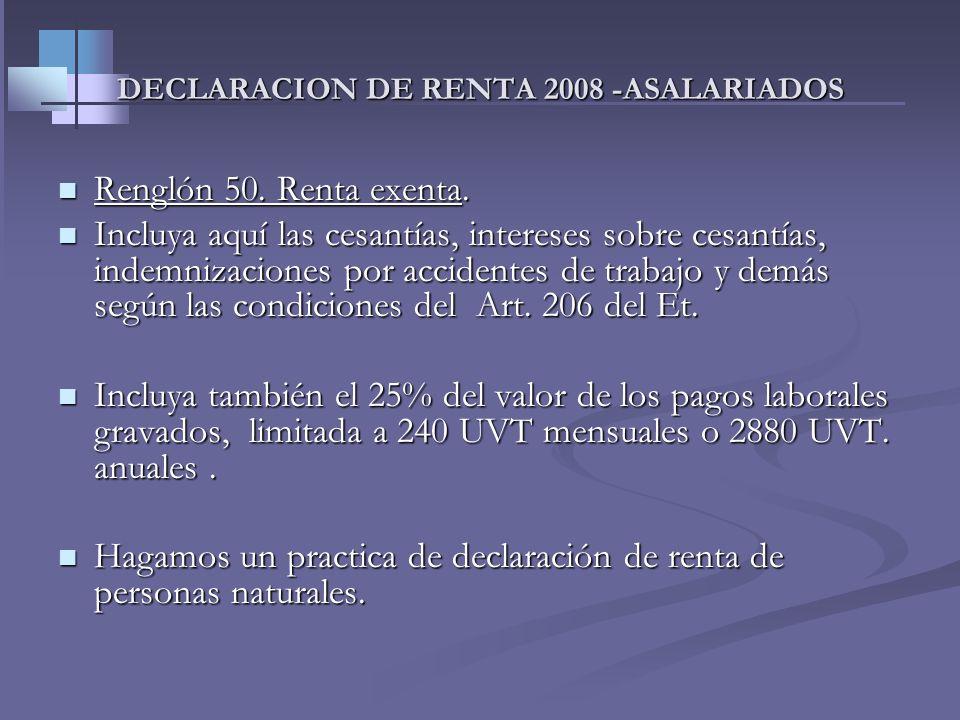DECLARACION DE RENTA 2008 -ASALARIADOS 2-Aporte obligatorio de salud. (opera t.i) 2-Aporte obligatorio de salud. (opera t.i) Incluya los descuentos ob