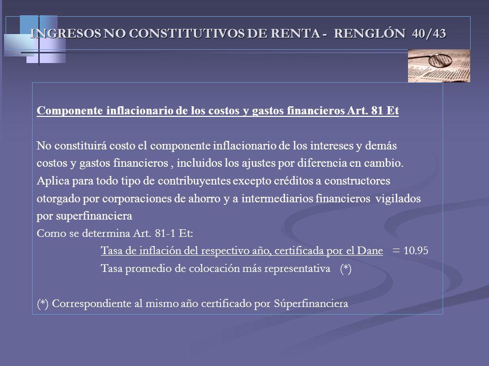 INGRESOS NO CONSTITUTIVOS DE RENTA - RENGLÓN 40/43 Componente inflacionario de los rendimientos financieros Art. 38 y 39 Et No constituye renta ni gan