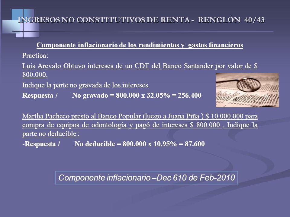 INGRESOS NO CONSTITUTIVOS DE RENTA - RENGLÓN 40/43 Componente inflacionario de los costos y gastos financieros Art. 81 Et No constituirá costo el comp