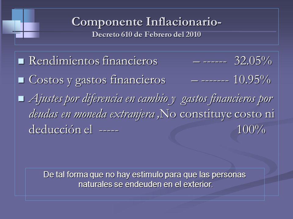 INGRESOS NO CONSTITUTIVOS DE RENTA - RENGLÓN 40/43 Componente inflacionario de los rendimientos y gastos financieros Practica: Luis Arevalo Obtuvo int