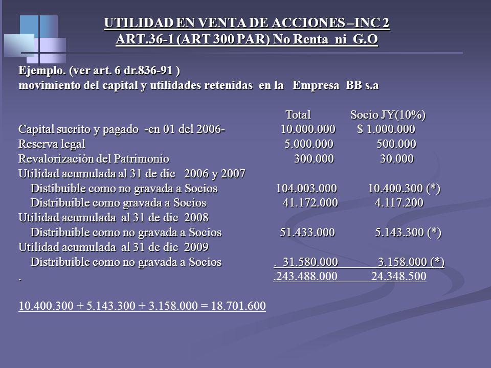 UTILIDAD EN VENTA DE ACCIONES –INC 2 ART.36-1 (ART 300 PAR) No Renta ni G.O Luis G posee desde la creación de la sociedad Victoria S. A el 10% de su c