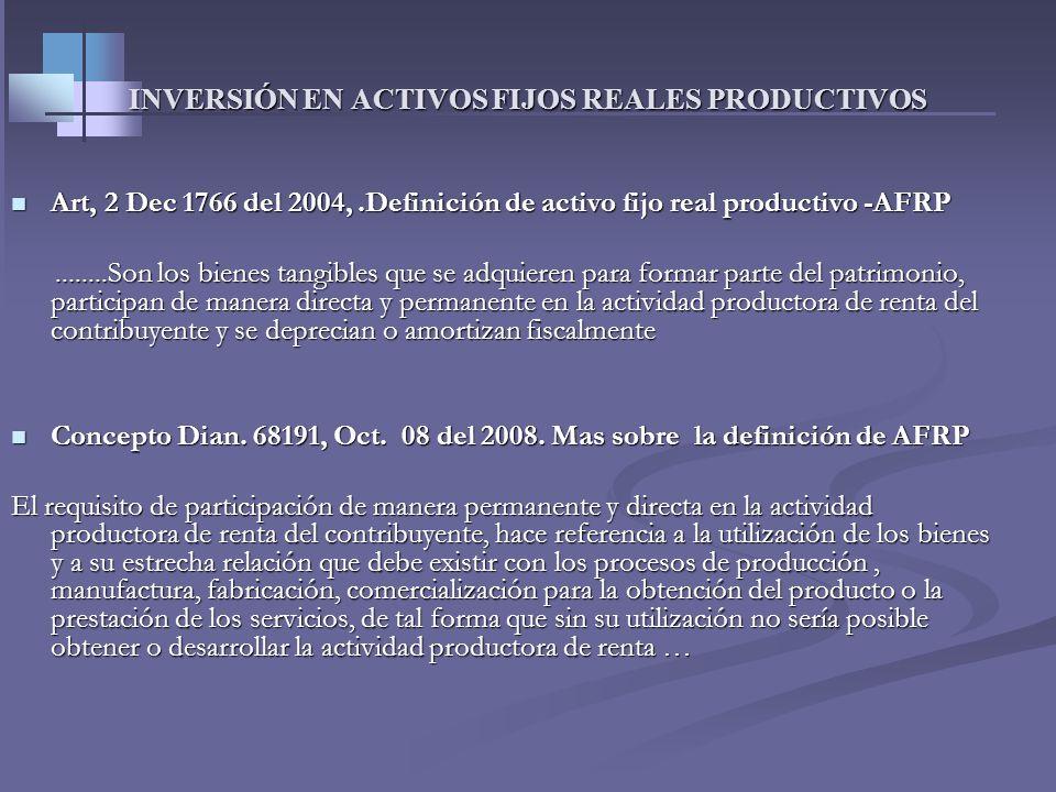 INVERSIÓN EN ACTIVOS FIJOS REALES PRODUCTIVOS Art.158-3Et Renglón. 42 Costos y deducciones Deducción del 40% permanente y del 30% a partir del 2010 (L