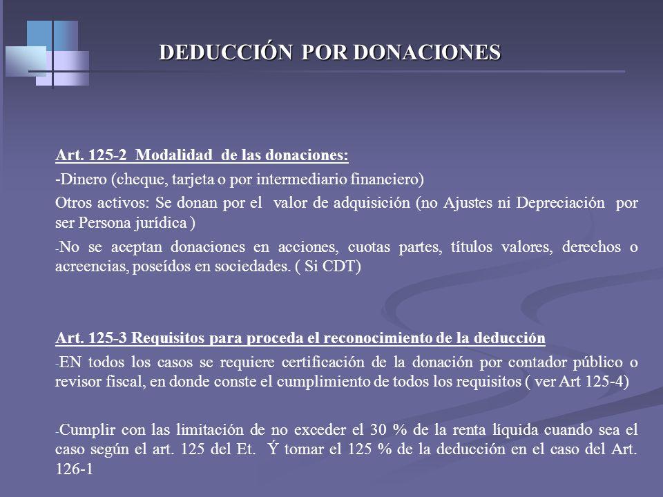 DEDUCCIÓN POR DONACIONES Art. 125-1 Requisitos de los beneficiarios de donaciones 1-Haber sido reconocida como persona jurídica sin ánimo de lucro y e