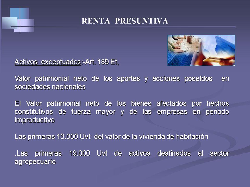 RENTA PRESUNTIVA Patrimonio líquido año anterior 100.000.000 (-)Vr Patrimonial Neto activos art.189Et* (Acción) - 8.000.000 = Base renta presuntiva 92