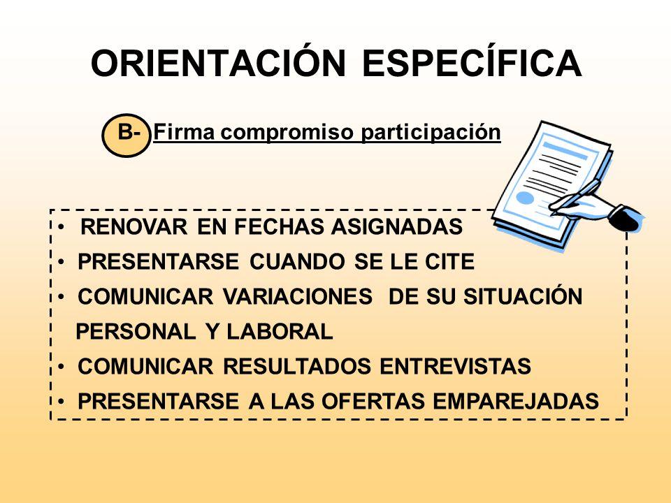 ORIENTACIÓN ESPECÍFICA Inscripción A- Entrega hoja explicativa documentación a aportar el día de la entrevista. DNI VIDA LABORAL JUSTIFICACIÓN TITULAC